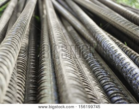 corrugated steel bars reinforcing in a stack