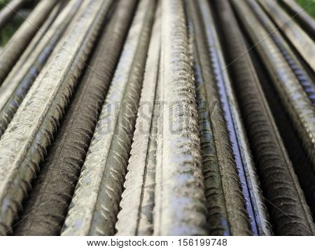 corrugated steel bars reinforcing in a stock