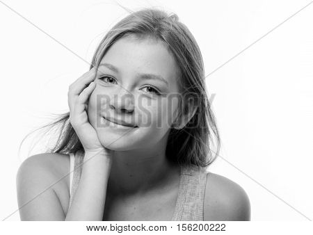 Teenager Girl Woman Female Portrait Freckles Face. Black And White.