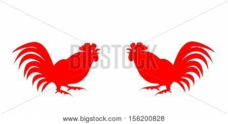 Red silhouettes fighting cocks on a white background. Symbol of Chinese horoscope and folklore personage. Vector illustration suitable as part of the ornament, design elements, etc. Horizontal.