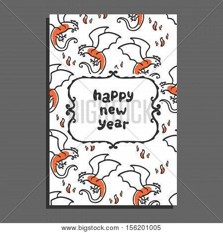 Happy new year greeting card with basilisk and flames. Cute cartoon vector childish pattern on white background