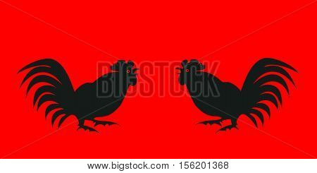 Black silhouettes fighting cocks on a red background. Symbol of Chinese horoscope and folklore personage. Vector illustration suitable as part of the ornament, design elements, etc. Horizontal.