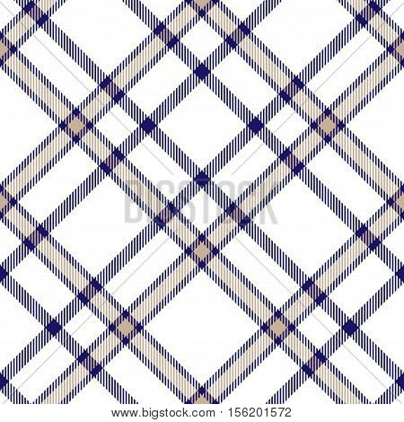 Seamless tartan plaid pattern. Tartan design in light beige brown & indigo blue stripes on white background.