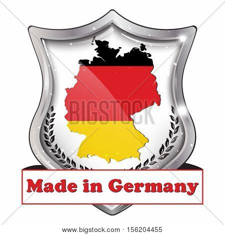 Made in Germany, Premium Quality - shield shape icon with the map and flag of Germany