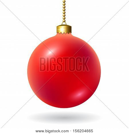 Merry Christmas 3D ball decoration. Red with gold bauble isolated on white background. Bright shiny decorative holiday design. Symbol of Xmas Happy New Year celebration. Vector illustration