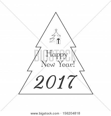 Christmas tree card with star gift. Cartoon icon. Black silhouette decoration sign isolated on white background. Flat design. Symbol holiday Christmas New Year celebration Vector illustration