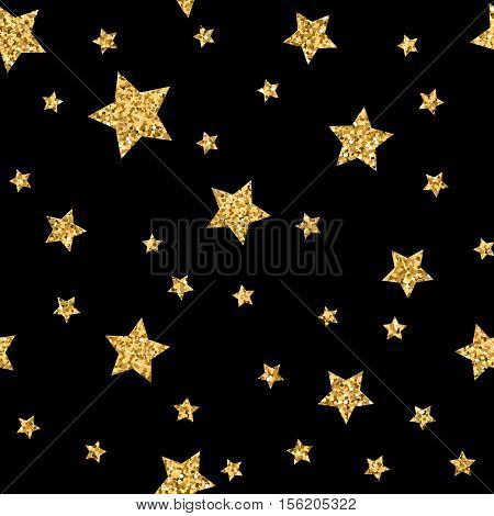 Stars polka dots seamless pattern gold and black retro background. Abstract bright golden design for wallpaper christmas decoration confetti textile wrapping. Symbol holiday Vector illustration