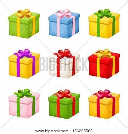 Vector set of colorful gift boxes with ribbons and bows isolated on a white background.
