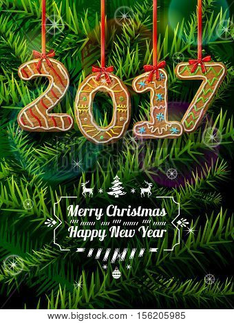 New Year 2017 in shape of gingerbread against pine branches. Year number like cookies on ribbon. Vector illustration for christmas new years day cooking winter holiday food silvester etc