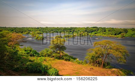 Long Exposure Silky water of Nile River over looking from Chobe Lodge in Murchison Falls National Park Uganda