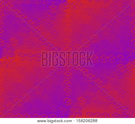 red and blue diamonds painted on the red, blue and pink background