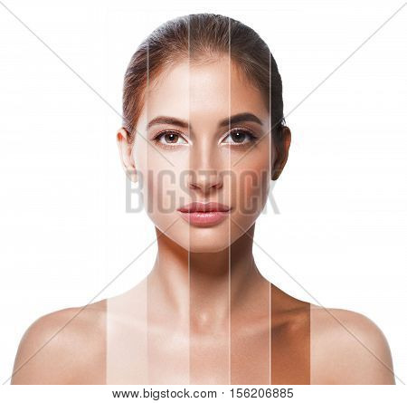 Portrait Woman With Different  Skin Tone Colors. Studio Shot.