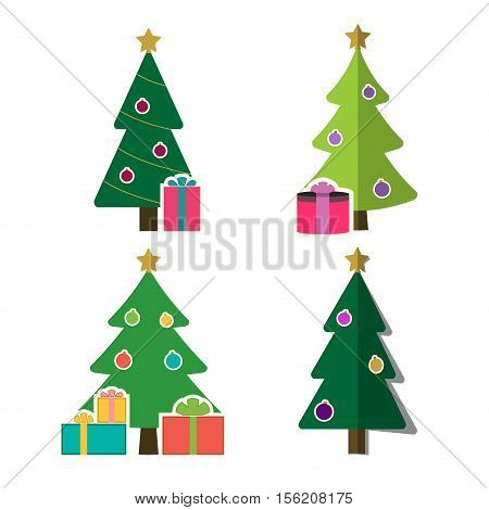 Christmas tree cartoon icons set. Green flat silhouette decoration trees signs isolated on white background. Symbol of holiday winter gifts Christmas celebration New Year Vector illustration