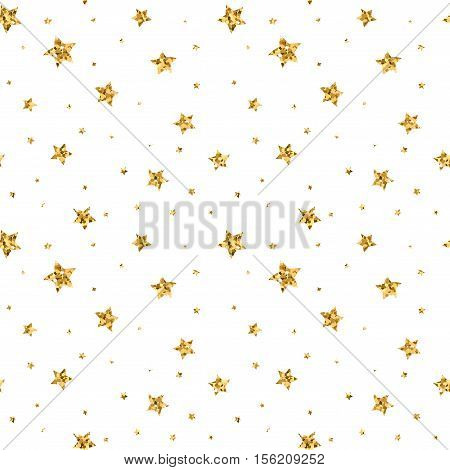 Stars seamless pattern gold and white retro background. Abstract bright golden design for wallpaper Christmas decoration confetti textile wrapping. Symbol of holiday. Vector illustration