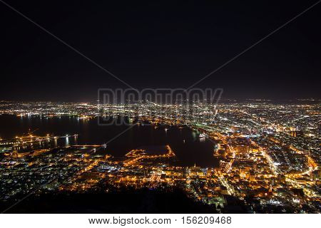 Winter Night View Of Hakodate Harbor