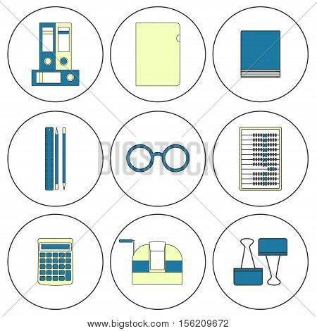 Tools bookkeeper Vector illustration Set of icons of working tools of the bookkeeper: folders, stickers, stationery, counting machine Thin line