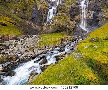 Huldafossen twin waterfalls in Fresvik, Hordaland,  Norway