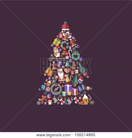Stock vector illustration design elements for a Happy New Year 2017 and Merry Christmas in a flat style in the shape of Christmas trees set of decorative accessories on violet background.