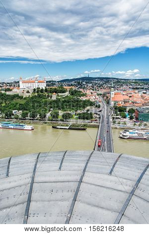 Bratislava is the capital city of Slovak republic. Beautiful castle Saint Martin's cathedral bridge SNP Danube river and Kamzik TV Tower. Architectural theme. Cultural heritage. Travel destination.