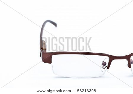 Modern optical glasses on white background, Selective focus and crop image for concept and idea design