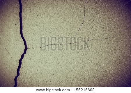 Crack And Broken At Dirty Wall Concrete.