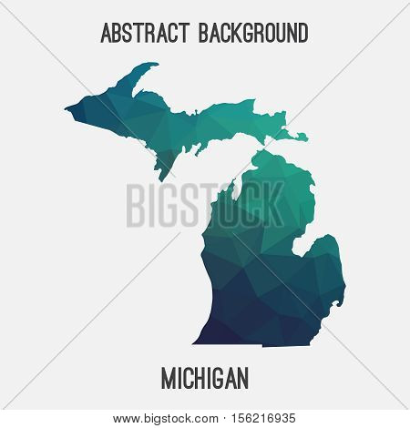 Michigan map in geometric polygonal,mosaic style.Abstract tessellation,modern design background,low poly. Vector illustration.