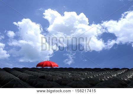 3D Rendering : Illustartion Of Red Umbrella Floating Above From The Crowd Of Many Black Umbrellas Ag