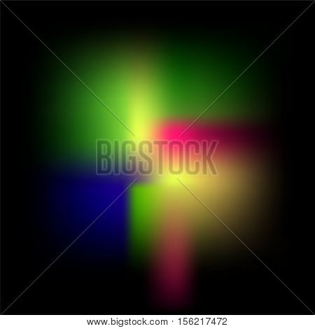 Multicolored mesh gradient on black. Suicide Squad movie inspired background. Abstract vector illustration for card banner template web design digital paper or pattern tile. Glowing color texture