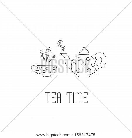 Polka dots tea pot and cup with tea on white background. Tea time greeting card or invitation template for your design. Vector illustration of hand drawn sketch.