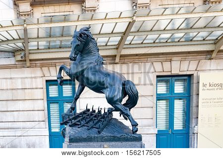 PARIS, FRANCE, circa april 2016. The statue of a horse in front of the train station Orsay (Orsay Museum).  Paris, France.