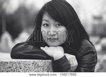 Monochrome portrait of asian woman
