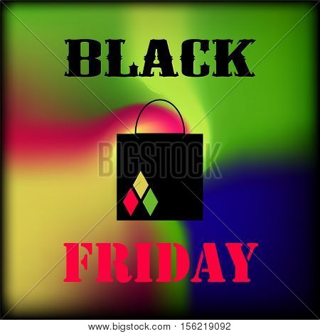 Black Friday square banner with colorful gradient. Multicolored mesh on black background. Suicide Squad movie inspired design. Vector image for shopping Friday. Sale or discount offer flyer template