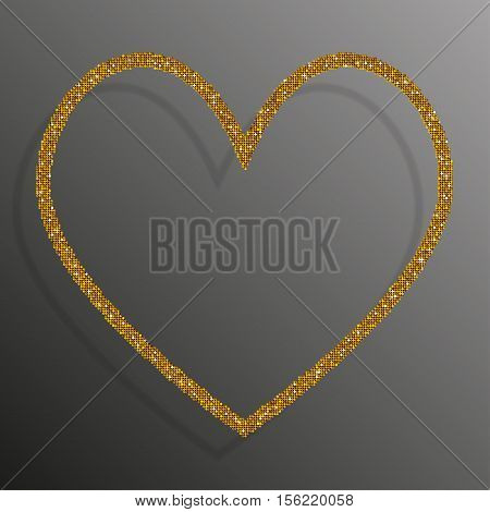Frame made of Gold sequins in the form heart. Mosaic sequins glitter sparkle stars.