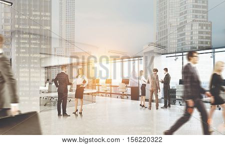 People are walking in office and discussing business issues in twos and threes. Large city with skyscrapers on the foreground. 3d rendering. Toned image. Double exposure