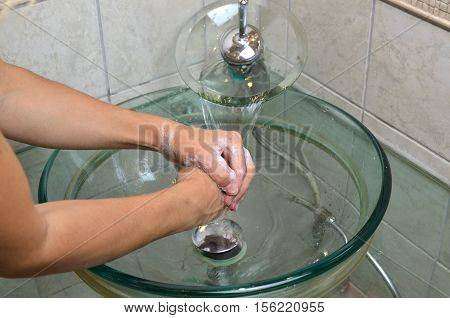 Washing Hands In Bathroom