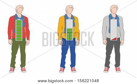 silhouettes of young people. energy in the form of a discharging battery. vector illustration.