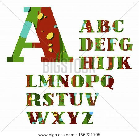 English alphabet, spots and stripes, vector font, color, green, brown. Green, capital letters of the English alphabet with brown stripes and yellow and blue spots. Letters with serifs.