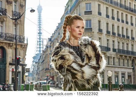 Portrait Of Modern Fashion-monger In Fur Coat In Paris, France