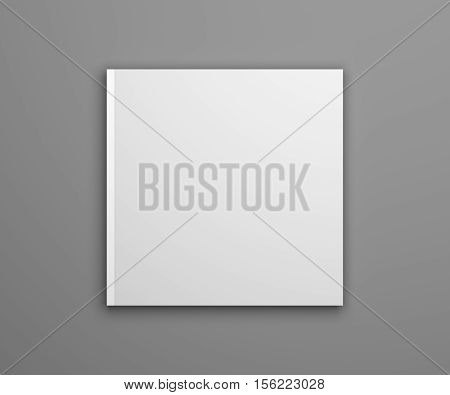 Blank square cover publication or brochure isolated on gray. 3D illustration mockup.