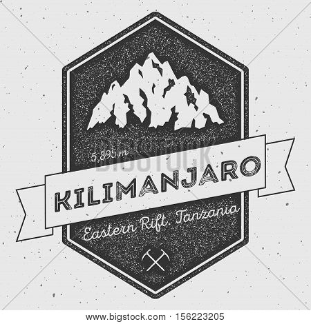 Kilimanjaro In Eastern Rift, Tanzania Outdoor Adventure Logo. Pennant Expedition Vector Insignia. Cl