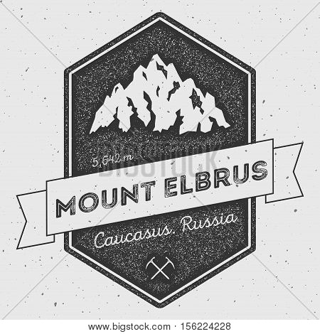Mount Elbrus In Caucasus, Russia Outdoor Adventure Logo. Pennant Expedition Vector Insignia. Climbin