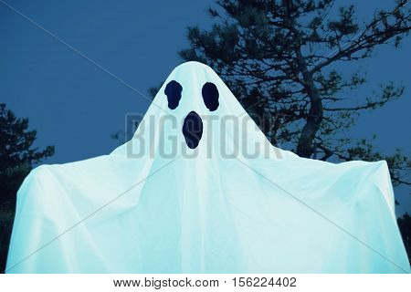 Spooky white ghost with black eyes walking in night forest. Halloween costume
