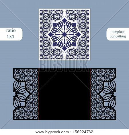 Laser cut christmas square card template. Cut out the paper card with lace pattern and a snowflake. Greeting card template for cutting plotter. Congratulation to Christmas or New Year.Vector.