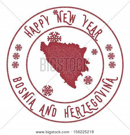 Retro Happy New Year Bosnia And Herzegovina Stamp. Stylised Rubber Stamp With County Map And Happy N