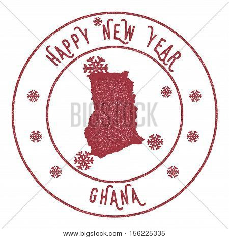 Retro Happy New Year Ghana Stamp. Stylised Rubber Stamp With County Map And Happy New Year Text, Vec