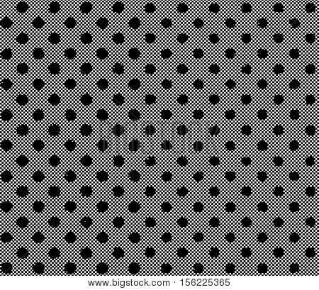 Black polka dot pattern. Black pattern of grunge circles on a fine grid. Vector seamless pattern
