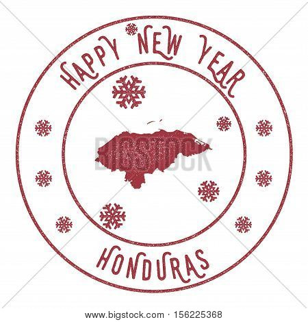 Retro Happy New Year Honduras Stamp. Stylised Rubber Stamp With County Map And Happy New Year Text,