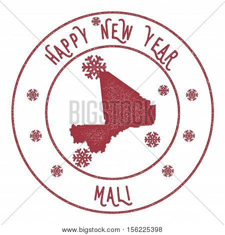 Retro Happy New Year Mali Stamp. Stylised Rubber Stamp With County Map And Happy New Year Text, Vect
