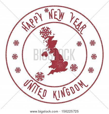 Retro Happy New Year United Kingdom Stamp. Stylised Rubber Stamp With County Map And Happy New Year