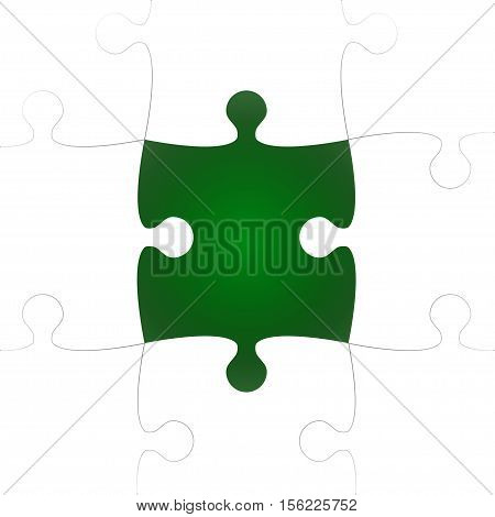 Vector Background made from White Puzzle Pieces with One Green Missing. Piece Flat Puzzle Infographic Presentation. Step Circle Business. One Section Compare Service Banner.